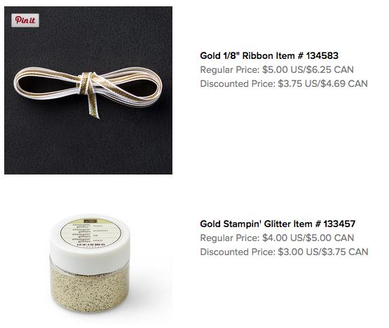 "Gold 1/8"" ribbon and Gold embossing powder"