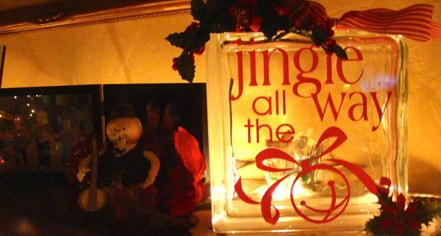 Jingle All the Way glass block