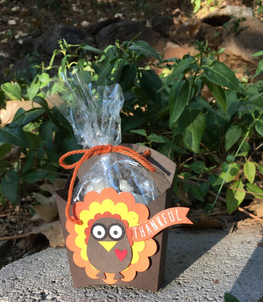 Close up of turkey fry box candy treat box