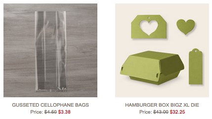 Gusset Cello Bags and Hamburger Box available at 25% off Oct 6-12, 2015