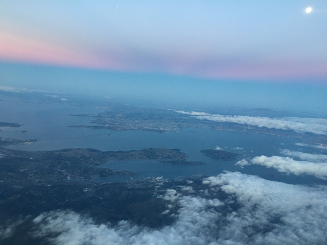 Landing into the sunset in San Francisco