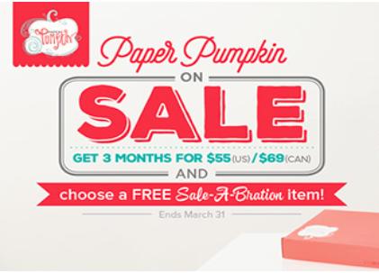 Paper Pumpkin subscription sale plus FREE Sale-a-Bration items