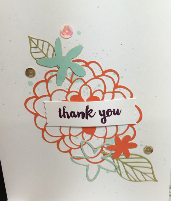 Thank you card, February 2016 Paper Pumpkin. Close up.