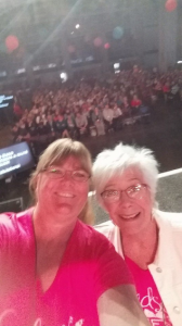 Selfie of Patti and Blythe, showing OnStage attendees
