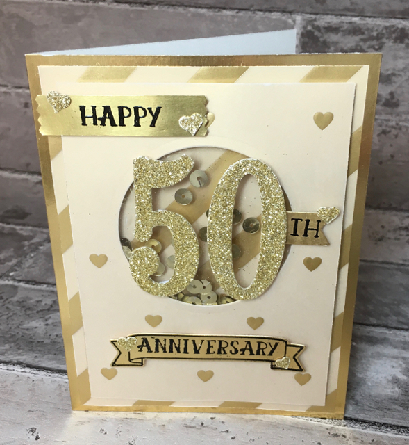 50th Anniversary Card, hand stamped