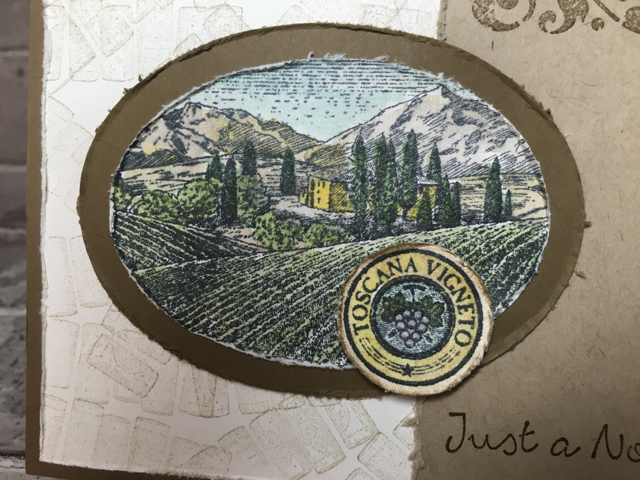 Water coloring of vineyard scene