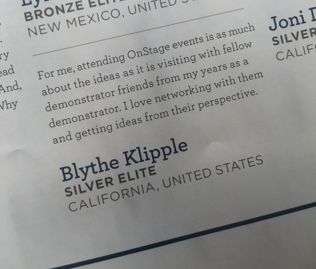 Blythe Klipple blurb from Stampin' Success, Stamin' Up!'s demonstrator publication