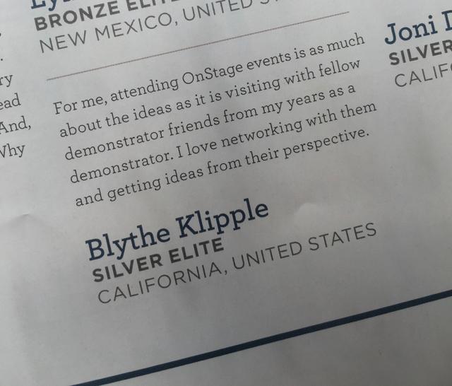 Blythe Klipple blurb from Stampin' Success, Stamin' Up!'s demonstrator publication