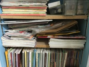 Unsorted shelf of Stampin' Up! publications!