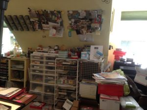 Walls, flat spaces, floors were full of stampin' stuff