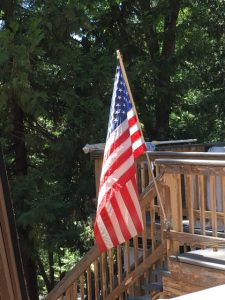 American flag proudly flying in Mi Wuk Village CA