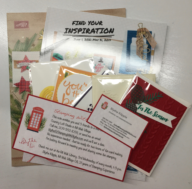 Donation catalogs, 5 cards and 1 private class invitation and business card