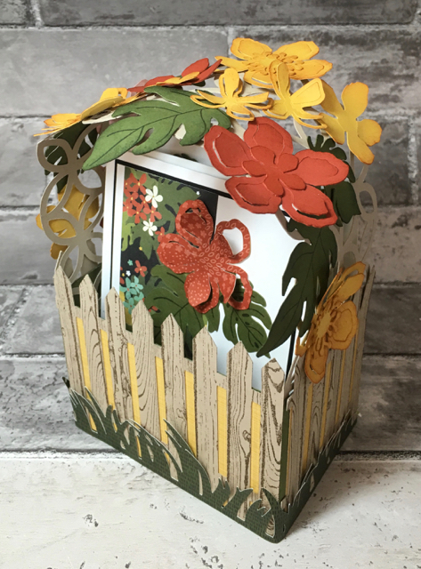 Lattice covered card basket filled with three cards