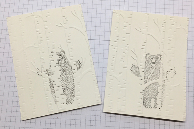 Bear Hugs (139543) and Woodland Embossing Folder (139673