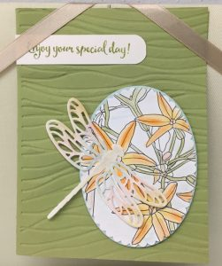 Dragonfly Dreams stamp set and Detailed Dragonfly Thinlits and Detailed Dragonfly Thinlitsand the inside the lines DSP