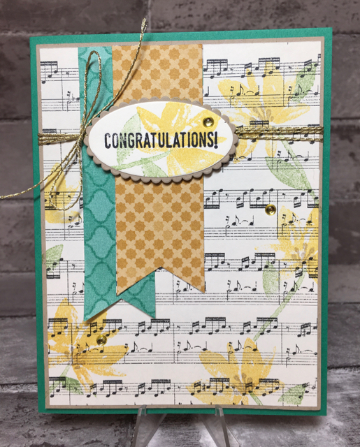 Music congrats card with a pop of Crumb Cake Stamen