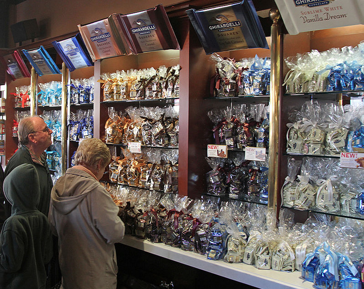 Gift shop wall at the Ghirardelli Chocolate Factory on Fisherman's Wharf in San Francisco CA