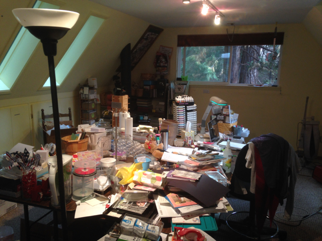 Messy stamp room waiting to be emptied, pre 2015 Cyber Sale.
