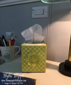 Embellishments on my tissue box on my desk