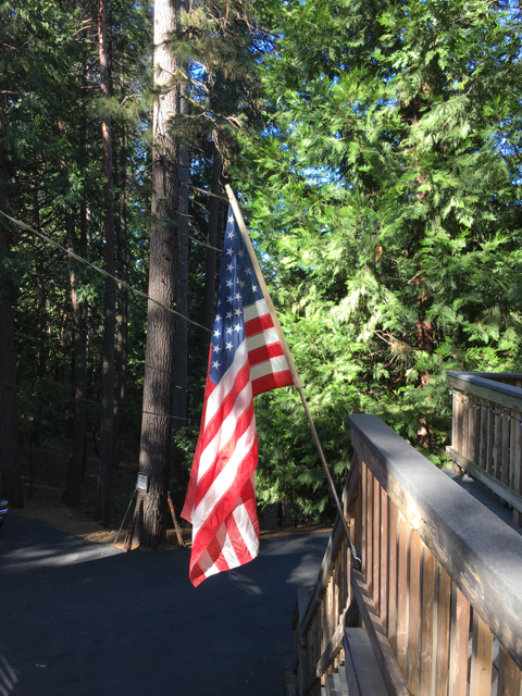 American flag proudly flying in Mi Wuk Village