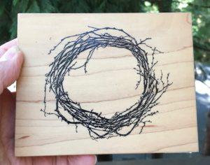 "Visual Image Printery Twig Wreath 5"" x 4"", 1994,"