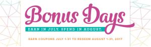 Bonus Days - July 2017