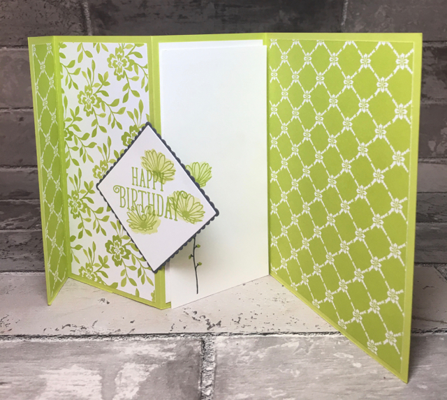 tri fold card open stamping with blythe