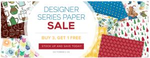 Oct 1-31 - Designer series paper buy 3 get 1 for free