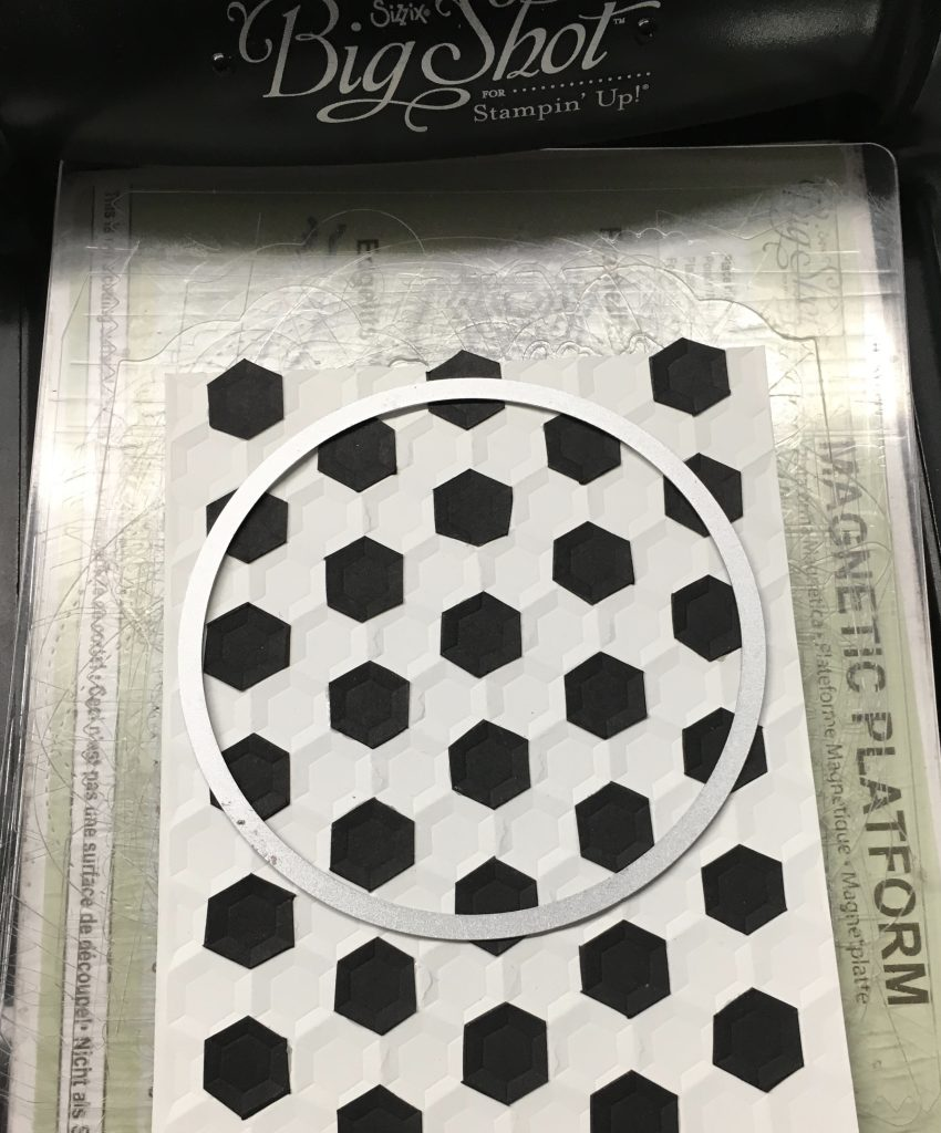 Attach black hexagons to card front layer