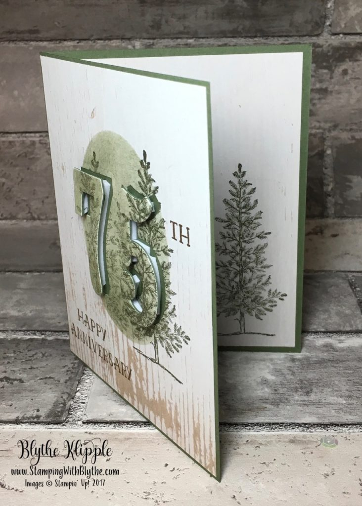 75th wedding anniversary card for Alvena and Maury, showing inside