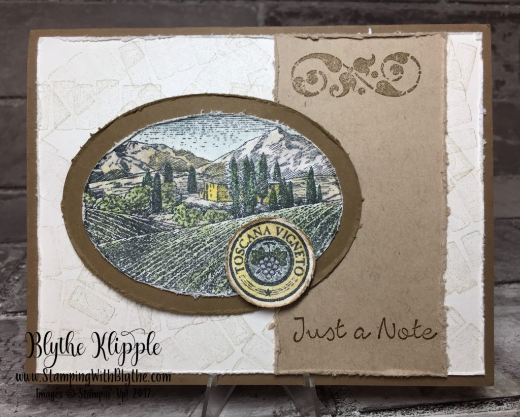 This Tuscany Vineyard brought me serenity - Just a note my original card