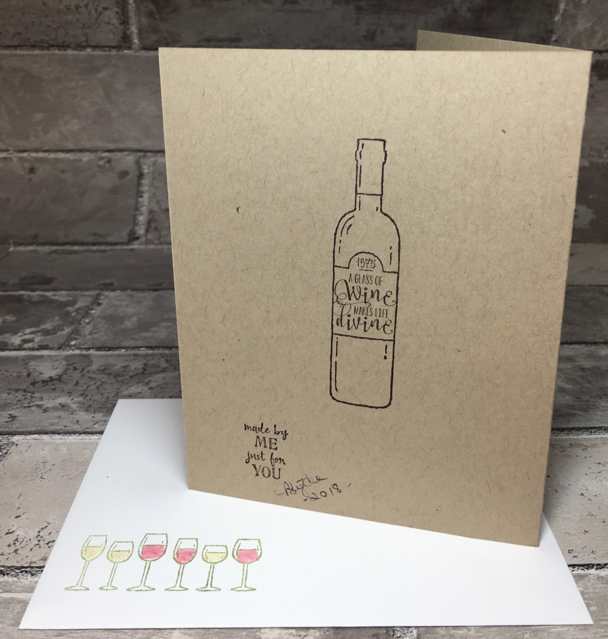 Wine And Birthday Cards For A Few Of My Friends Back Stamping