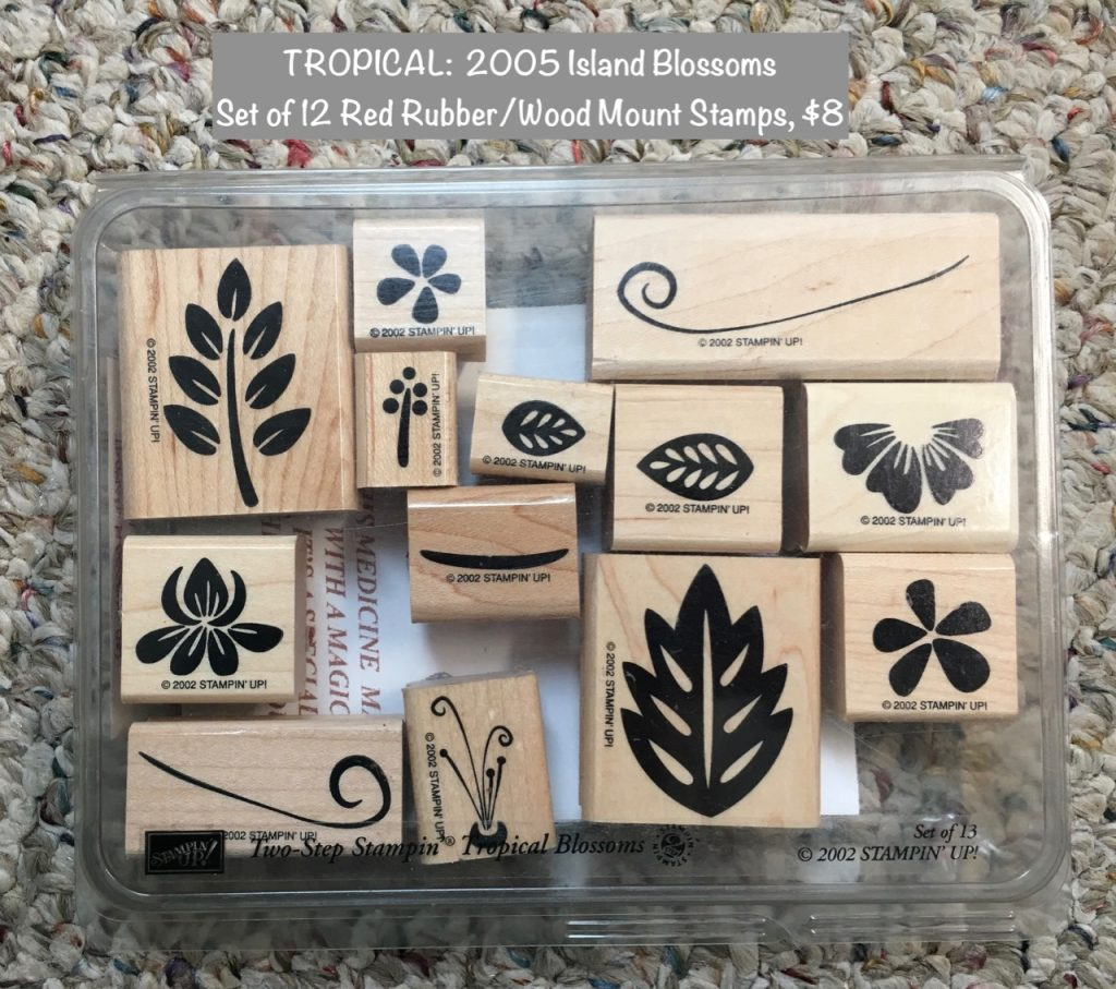 TROPICAL: 2002 Tropical Blossoms, set of 13 red rubber/wood mounted stamps