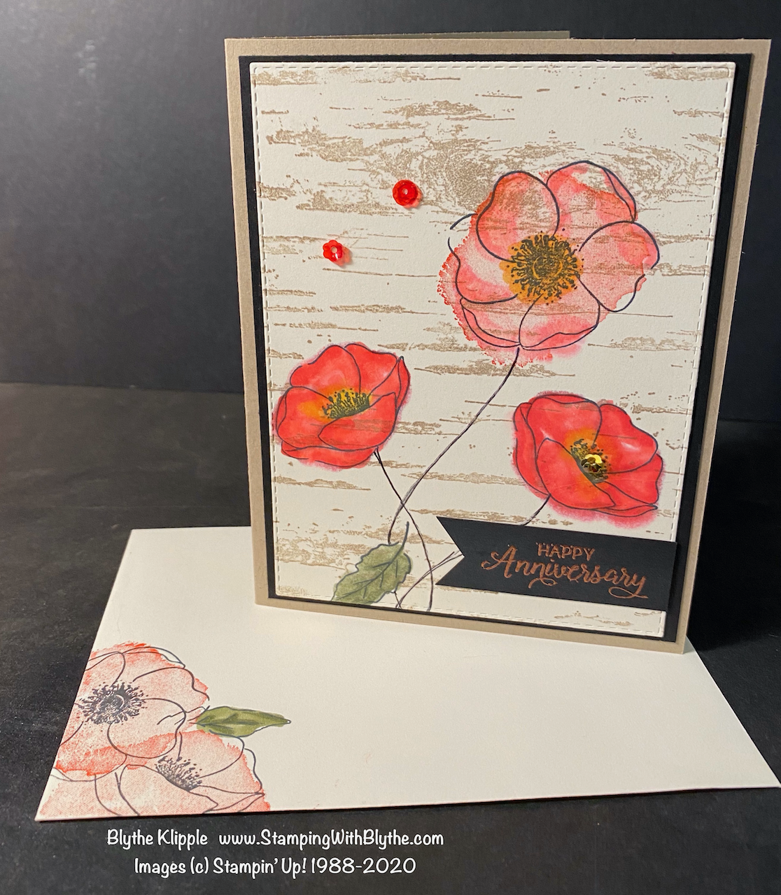 Painted Poppies hand-stamped birthday card