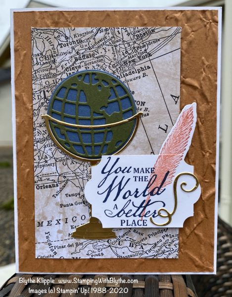 Beautiful World hand stamped greeting card