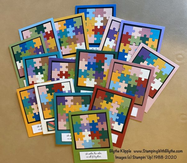 Sixteen puzzle piece cards