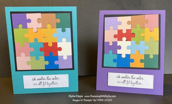 Close up of two puzzle piece cards