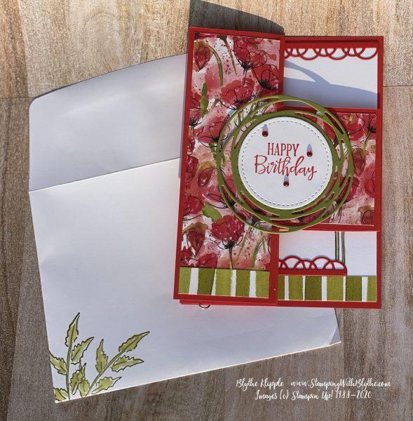 Poppy Parade tri fold birthday card