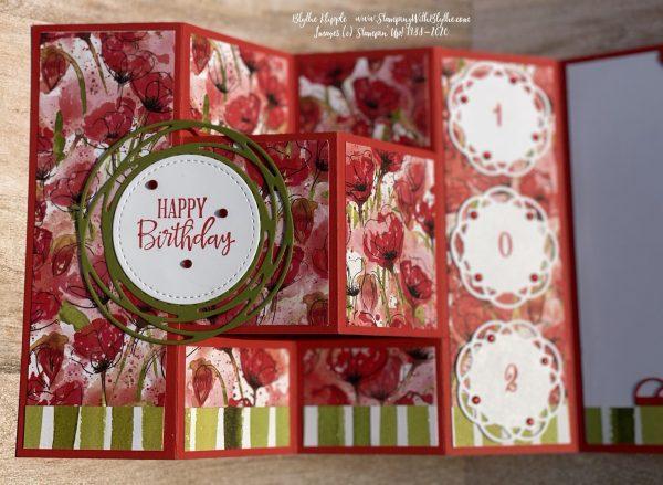 Poppy Parade card stock/Peaceful Poppies (retired) tri fold birthday card