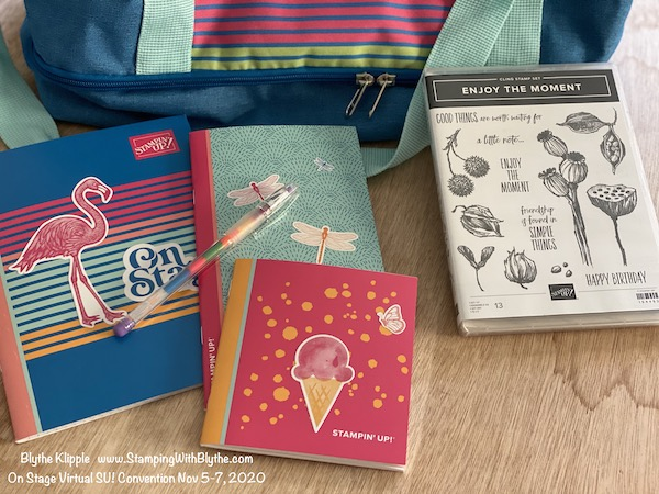 SU! On Stage Nov 5-7, 2020, swag box contents - notebooks & pen