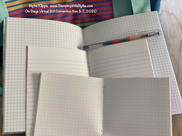 SU! On Stage Nov 5-7, 2020, swag box contents - inside each notebook