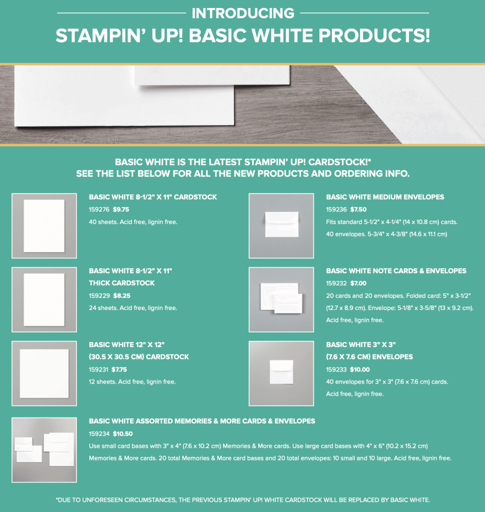 Stampin' Up! Basic White Product line