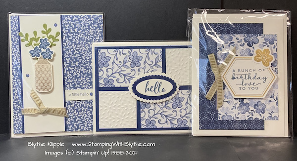 A few of my Boho Indigo Product Medley cards