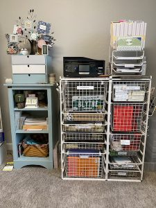 Container Store Elfa units and another selvaged cupboard
