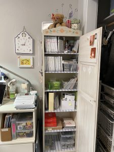 This narrow cabinet housed my very grown children' cloth diapers once upon a time