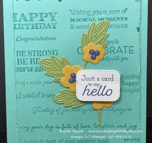 Attach the previously stamped/die cut greeting using 2 Dimensionals.