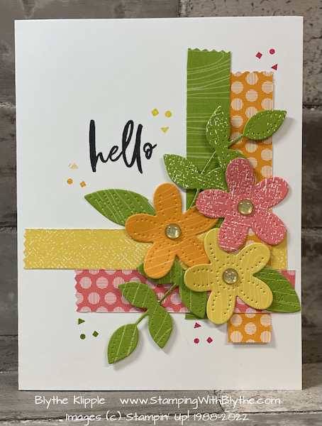 cheery Hello hand stamped card